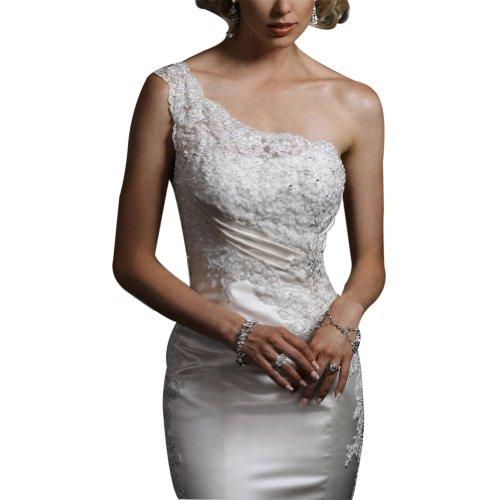Weiß Satin Kapelle Hochzeitskleider Schulter Eine BRIDE Brautkleider Gewebe Spitze Sexy Zug elastische GEORGE 847q0c