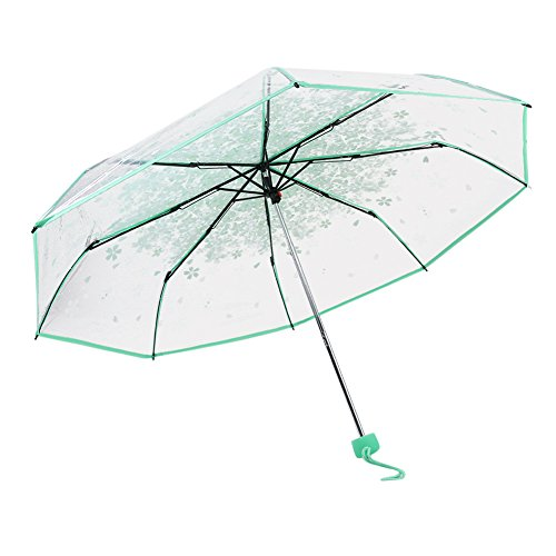 Transparent Bubble Umbrella, Clear Dome Shape Folding Compact Umbrella for Weddings and Events (Green)