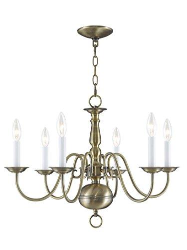 Livex Lighting 5006-01 Williamsburg 6 Light Antique Brass Chandelier