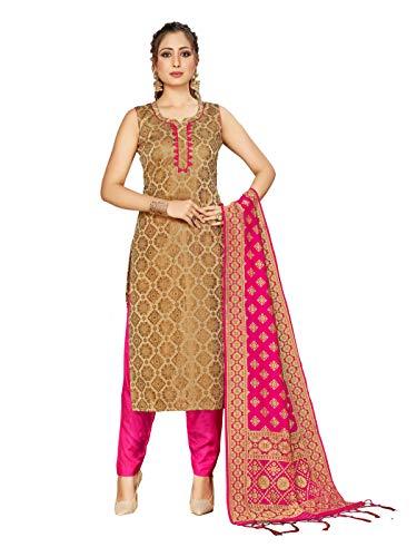 Indian Pakistani Women's Readymade Salwar Kameez Banarasi Art Silk Woven Suit with SIlk Dupatta Stitched Dress