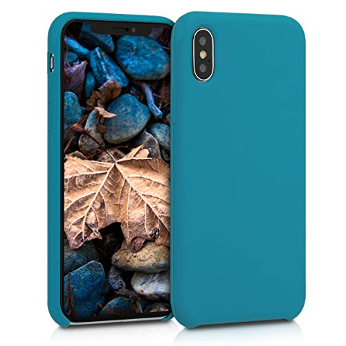 kwmobile TPU Silicone Case for Apple iPhone X - Soft Flexible Rubber Protective Cover - Teal Matte