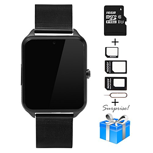 Smartwatch, Collasaro Sweatproof Smart Watch Phone with Camera and SIM Card Slot, Smart Watch for Android Samsung IOS iPhone LG Sony HTC Smartphones (Black Metal)
