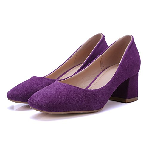 AdeeSu Womens Comfort Square-Toe No-Closure Solid Leather Pumps Shoes SDC04679 Purple vn5vaF