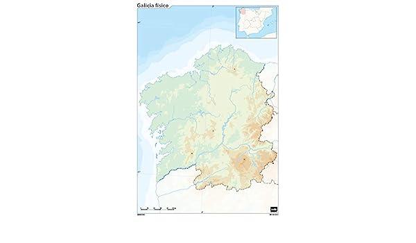 Mapa mudo Galicia fisico A4: Amazon.es: Oficina y papelería