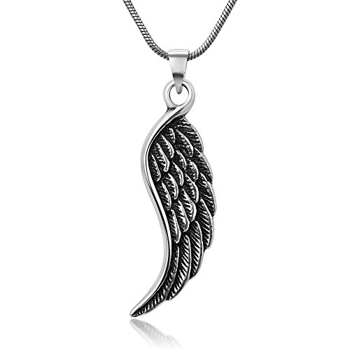 Chuvora Sterling Silver Detailed Guardian Angel Wings Pendant Necklace w/Snake Chain 18