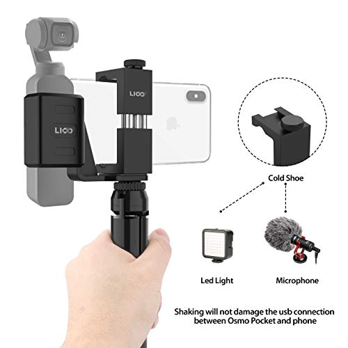 Alcoon Aluminum Handheld Phone Holder Tripod Mount Stand Compatible for DJI Osmo Pocket Accessories with Cold Shoe Interface and 1//4 Inch Thread