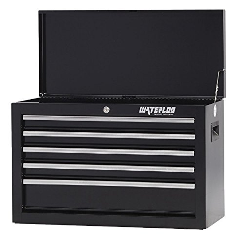 Waterloo Shop Series 5-Drawer Ball-Bearing Tool Chest with Internal Keyed Locking System, Black Finish, 26