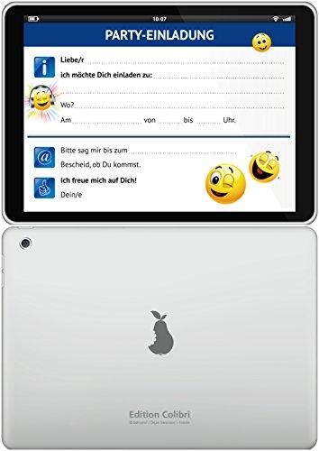 12-er-Set lustige Tablet-Einladungskarten (10663) mit Smileys o. Emojis zum Kindergeburtstag oder zur Party von EDITION COLIBRI