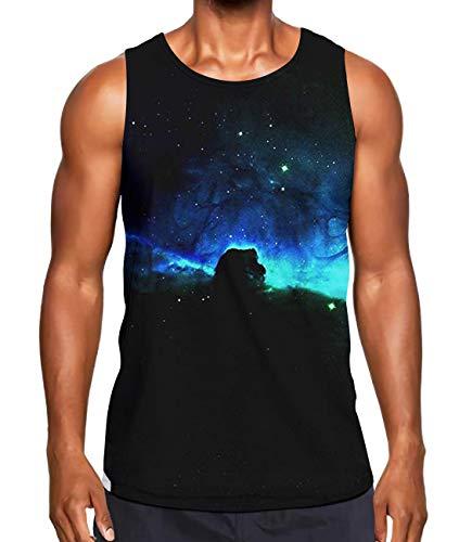 Alistyle Men's Summer Tank Tops Aurora Print Tees Sport Gym Sleeveless Vest M