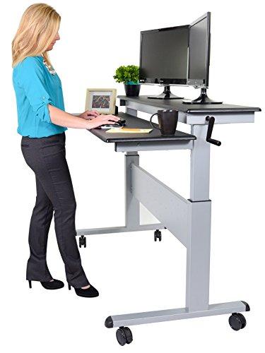 """Stand Up Desk Store 60"""" Crank Steel Adjustable Sit to Stand Up Desk, Black Shelves / Silver Frame"""
