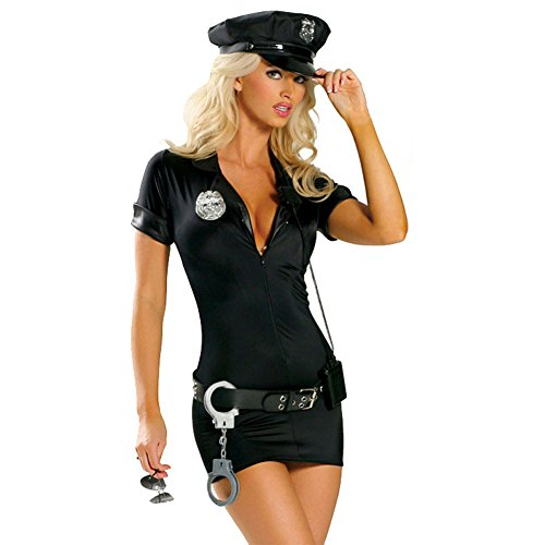 Cuteshower Women's Sexy Police Uniform Cop Halloween Costume with Handcuffs