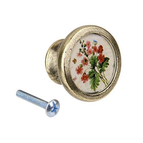 - Vintage Brass Wardrobe Cabinet Door Cupboard Drawer Handle Knob Flower Plant