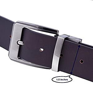 """Men's Classic Belt Reversible 1.5"""" Genuine Leather Dark Brown-Black Belt With Rotated Buckle Men's Gift Box By ZHWNSY (47 inches)"""