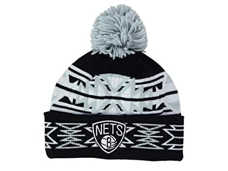 more photos 0ea65 dee6e Brooklyn Nets Black  quot Geotech quot  Argyle Beanie Hat with Pom - NBA  Cuffed Winter
