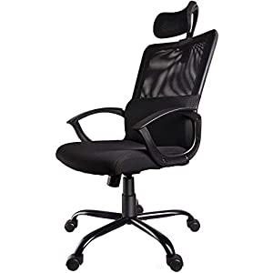 Smugdesk Ergonomic Office Chair Adjustable Headrest Mesh Office Chair Office Desk Chair Computer Task Chair (Black) – 2579