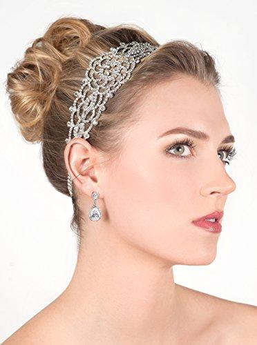 Silver Crystal Rhinestone Gatsby Inspired Bridal Headband, Wedding Headpiece