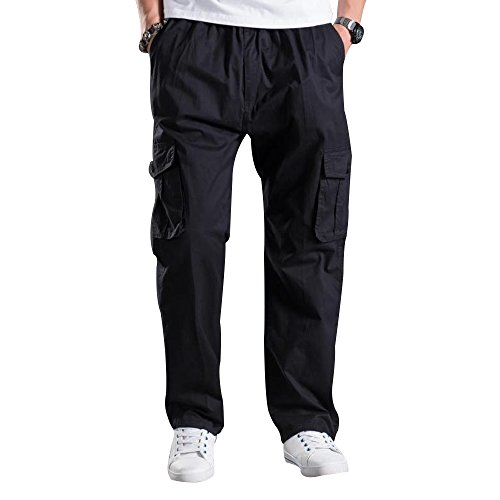 Mesinsefra Men's Full Elastic Waist Cargo Pants Black Lable 4XL-US 40