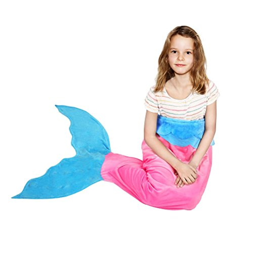 Lujuny Kids Mermaid Tail Blanket - All Seasons Fleece Fabric Thicken Sofa Sleeping Bag for Children (Ages 3 - 10) (Pink) (Halloween Movies For 8-12 Year Olds)
