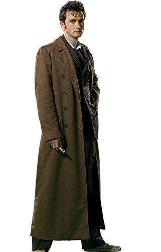 David Tennant 10th Doctor Costume - Class Jackets Canyon Mens Brown 10th Doctor Coat, XS