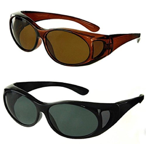 Polarized Fit Over Sunglasses Wear Over Cover Over Prescription Glasses, Medium, Brown and Black (2 Carrying Case - Go Sunglasses That Glasses Your Over