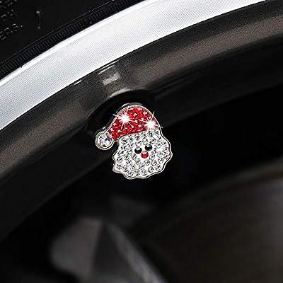 ATMOMO Crystal Santa Claus Tire Valve Caps Bling Tire Valve Dust Caps Tire Rim Valve Stem Caps for Christmas Decoration: Automotive