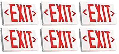 Ciata Ultra Bright LED Exit Sign with Battery Backup,6-inch Red Letters (6 Pack)