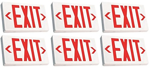 Ciata Lighting LED Exit Sign with Battery Backup, Red Letters (6 Pack)