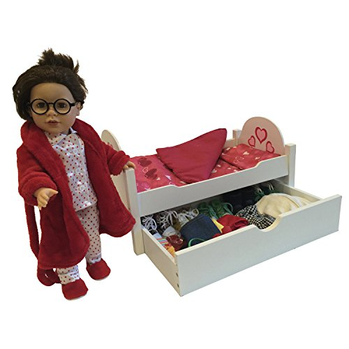 Wooden Doll Bed with Trundle Fits 18 Inch Dolls (Wood Doll Bed)