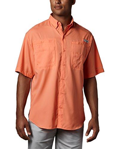 Columbia Mens Tamiami II Short Sleeve Shirt, Bright Peach, Large