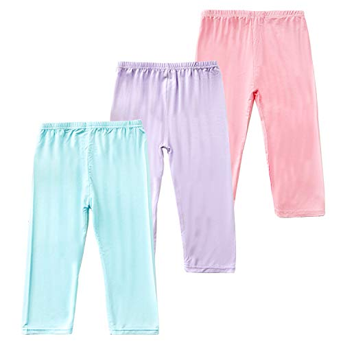 Capri Leggings for Girls 3 Pack Girl's Cropped Leggings Soft Stretchy Comfortable Casual Modal Tight Pants (Flat Mouth-Blue/Pink/Purple, 2-3 Years)