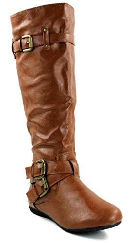 Kali Chaussures Femmes Double Boucle Plat Bottes De Mode Arcade Châtaigne