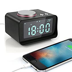 Leiqi Dual Alarm Clock with Snooze FM Radio 3.2inch Brightness Adjustable LED display 2 ports USB Charger for charging iPhone iPad Huawei at Bedside Table