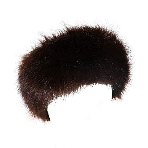 Dikoaina Womens Faux Fur Headband Winter Earwarmer Earmuff Hat Ski Brown