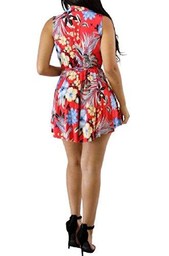 Coolred-femmes Impression Haute Beachwear Faible Ourlet Taille Haute Profonde Bretelles D'été Sans Manches Sexy Col V Tunique Mini Robes Rouge