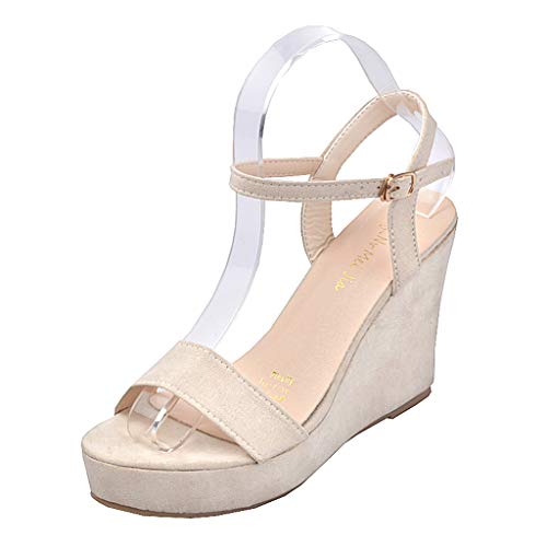 Wedge Sandals for Women,2019 New Casual Summer Open Toe Ankle Strap Buckle Thick-Soled Shoes (US:5, Beige)