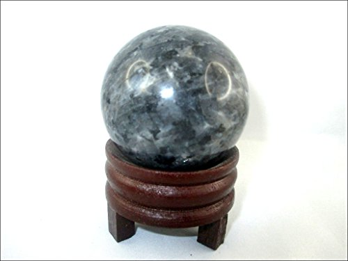 - Jet Blue Pearl Moonstone 45-50 mm Ball Sphere Gemstone A+ Hand Carved Crystal Altar Healing Devotional Focus Spiritual Chakra Cleansing Metaphysical Jet International Image is JUST A Reference