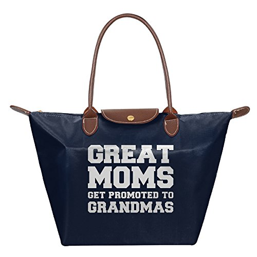 Women's Tote Bag Custom Great Moms Get Promoted To Grandmas Women's Waterproof Foldable Tote Shoulder Bag,Handbag,Multi-Function Diaper Bag Mummy Bag