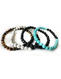 Natural Stone Meditation Jewelry - 4 Piece Set of Diffuser Bracelets with Lava Stones and semi Precious Stones