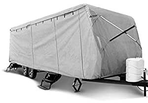 """Leader Accessories Travel Trailer RV Cover Fits 27'-30' Trailer Camper 3 Layer Size 366"""" L102 W104 H with Adhesive Repair Patch"""