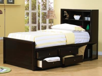 Coaster 400180F Full Chest Bed Bookcase Headboard In Cappuccino Finish (Youth Full Bed Captain)