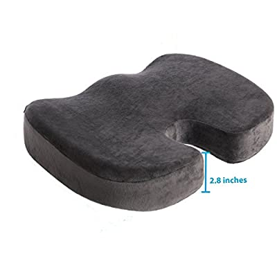 Memory Foam Seat Cushion and Lumbar Support Pillow for Office Chair and Car Seat Cushions,Tailbone, Coccyx & Sciatica Pain Relief - Improves Posture