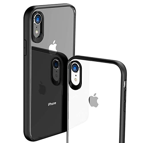 TOZO for iPhone XR Case Hybrid Soft Grip Matte Finish Frame Clear Back Panel Ultra-Thin [Slim Fit] Cover for iPhone XR 6.1 Inch 2018 (Black)