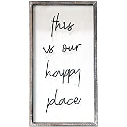 "Barnyard Designs This is Our Happy Place Wall Sign, Rustic Decorative Hanging Wood Sign Home Decor 30"" x 16.5"""
