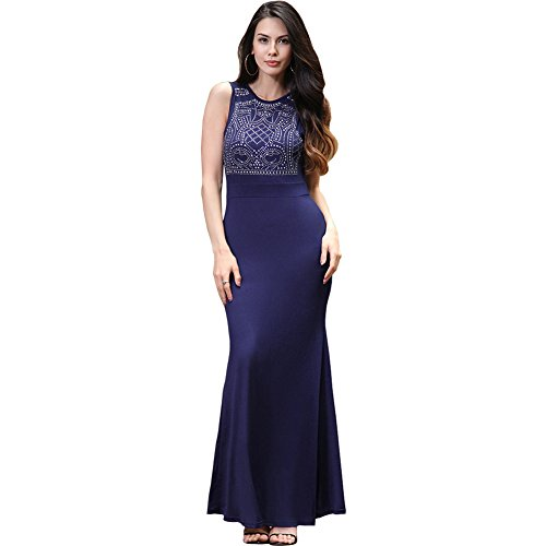 ISYITLTY Women's Long Fitted Rhinestone Sleeveless Mermaid Evening Gown Dress BlueS
