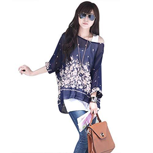- Cocobla Women Loose Chiffon Poncho Tunic Floral Print Batwing Blouse Boho Caftan t Shirt