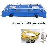 Fogao 2 Bocas Camping Caminhoneiro kit Instalaçao (Azul)