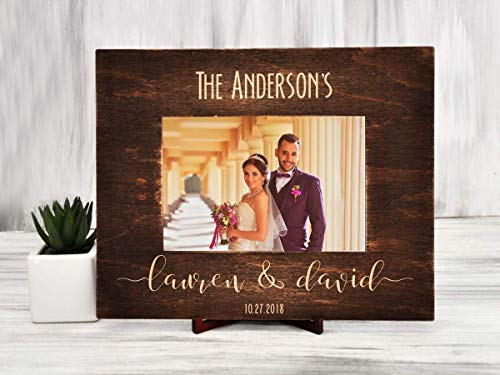 Cheap Wedding Frame Personalized Picture Frame Custom Engraved Wedding Photo Frame Bride Groom Gift for Couple Rustic Wedding Picture Frame Horizontal Vertical Family Photo Frame 4×6 | 5×7 | 6×8
