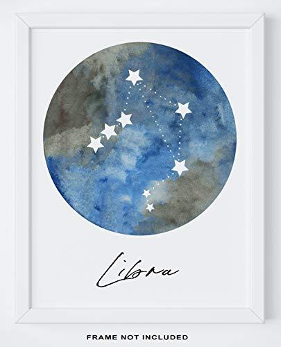Libra Zodiac Astrological Sign Constellation Moon Wall Art - 11x14