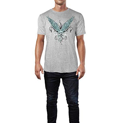 SINUS ART ® Grunge Flügel mit Ornamenten Herren T-Shirts in hellgrau Fun Shirt mit tollen Aufdruck