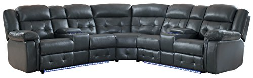 "Homelegance Kalmar 133"" Power Reclining Sectional Sofa, Gray Leather Gel Match"